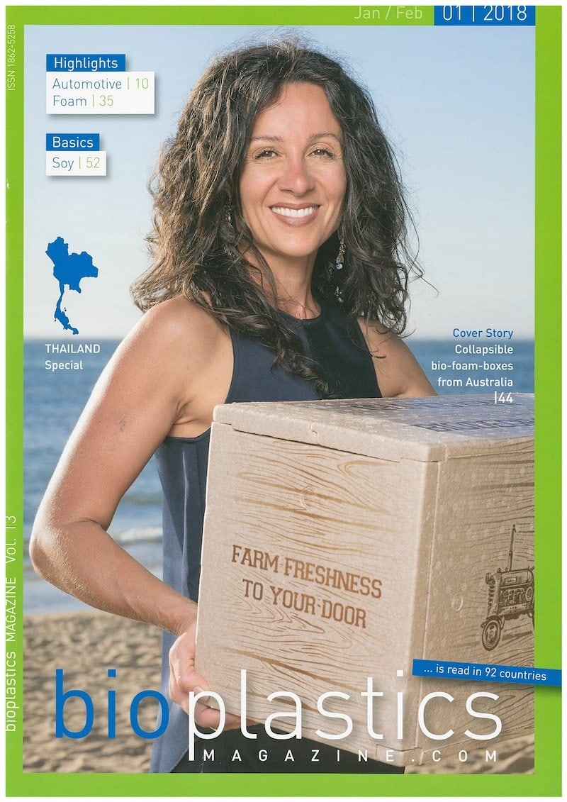 ICEE Folding Box on the cover of Bioplastics Magazine